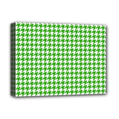 Friendly Houndstooth Pattern,green Deluxe Canvas 16  X 12