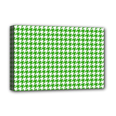 Friendly Houndstooth Pattern,green Deluxe Canvas 18  X 12