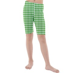 Friendly Houndstooth Pattern,green Kids  Mid Length Swim Shorts