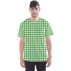 Friendly Houndstooth Pattern,green Men s Sports Mesh Tee