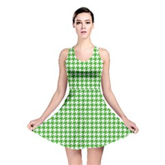 Friendly Houndstooth Pattern,green Reversible Skater Dress