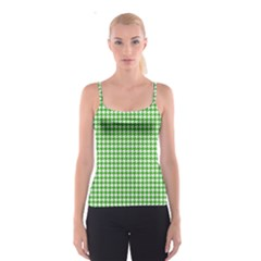 Friendly Houndstooth Pattern,green Spaghetti Strap Top