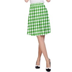 Friendly Houndstooth Pattern,green A Line Skirt