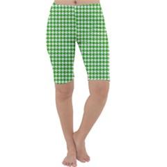 Friendly Houndstooth Pattern,green Cropped Leggings