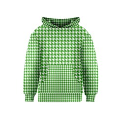 Friendly Houndstooth Pattern,green Kids  Pullover Hoodie