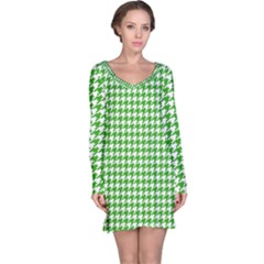 Friendly Houndstooth Pattern,green Long Sleeve Nightdress