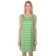 Friendly Houndstooth Pattern,green Sleeveless Satin Nightdress
