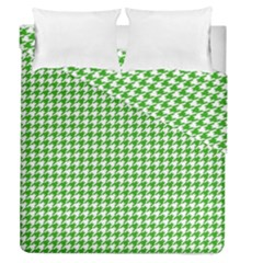 Friendly Houndstooth Pattern,green Duvet Cover Double Side (queen Size)