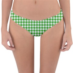 Friendly Houndstooth Pattern,green Reversible Hipster Bikini Bottoms