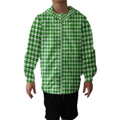 Friendly Houndstooth Pattern,green Hooded Wind Breaker (kids)