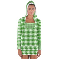 Friendly Houndstooth Pattern,green Long Sleeve Hooded T Shirt