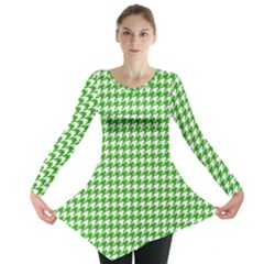 Friendly Houndstooth Pattern,green Long Sleeve Tunic