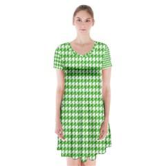 Friendly Houndstooth Pattern,green Short Sleeve V Neck Flare Dress