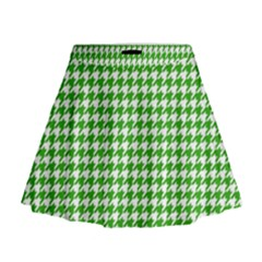Friendly Houndstooth Pattern,green Mini Flare Skirt