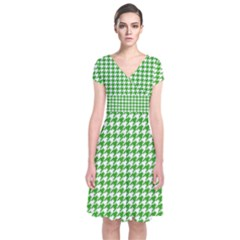 Friendly Houndstooth Pattern,green Short Sleeve Front Wrap Dress