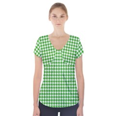 Friendly Houndstooth Pattern,green Short Sleeve Front Detail Top