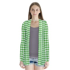 Friendly Houndstooth Pattern,green Drape Collar Cardigan