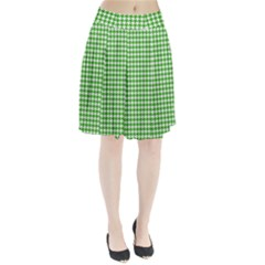 Friendly Houndstooth Pattern,green Pleated Skirt