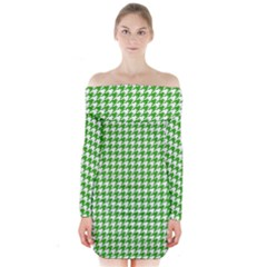 Friendly Houndstooth Pattern,green Long Sleeve Off Shoulder Dress
