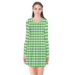 Friendly Houndstooth Pattern,green Flare Dress