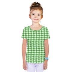 Friendly Houndstooth Pattern,green Kids  One Piece Tee