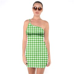 Friendly Houndstooth Pattern,green One Soulder Bodycon Dress