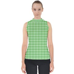 Friendly Houndstooth Pattern,green Shell Top