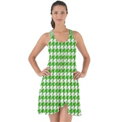 Friendly Houndstooth Pattern,green Show Some Back Chiffon Dress