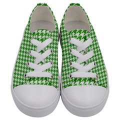 Friendly Houndstooth Pattern,green Kids  Low Top Canvas Sneakers