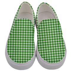 Friendly Houndstooth Pattern,green Men s Canvas Slip Ons