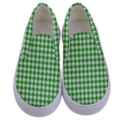 Friendly Houndstooth Pattern,green Kids  Canvas Slip Ons