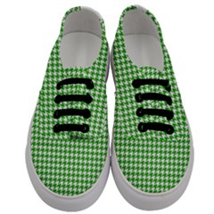 Friendly Houndstooth Pattern,green Men s Classic Low Top Sneakers