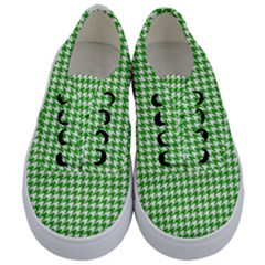 Friendly Houndstooth Pattern,green Kids  Classic Low Top Sneakers