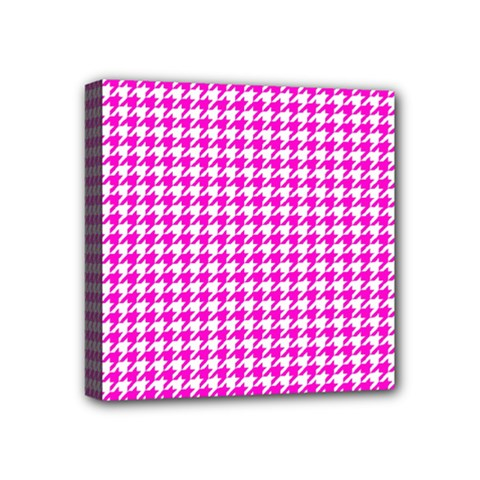 Friendly Houndstooth Pattern,pink Mini Canvas 4  X 4