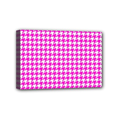 Friendly Houndstooth Pattern,pink Mini Canvas 6  X 4