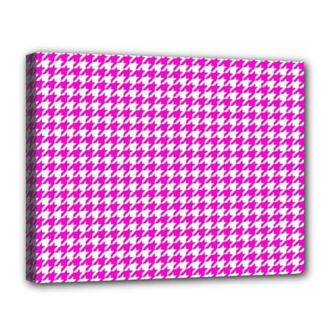 Friendly Houndstooth Pattern,pink Canvas 14  X 11