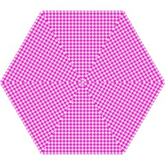 Friendly Houndstooth Pattern,pink Mini Folding Umbrellas