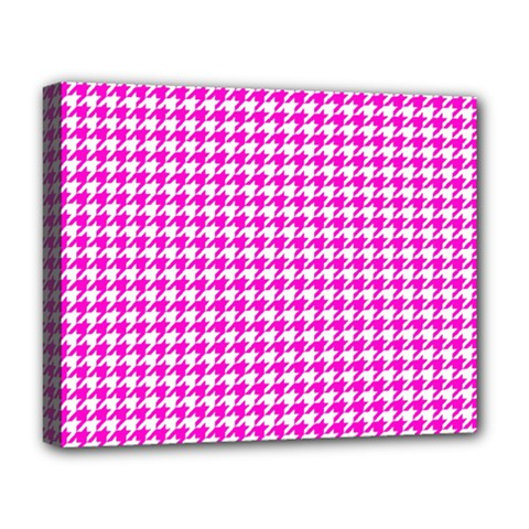 Friendly Houndstooth Pattern,pink Deluxe Canvas 20  X 16
