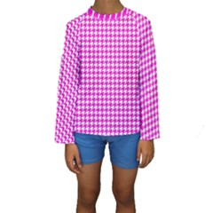 Friendly Houndstooth Pattern,pink Kids  Long Sleeve Swimwear
