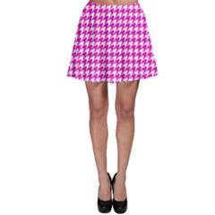 Friendly Houndstooth Pattern,pink Skater Skirt