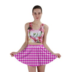 Friendly Houndstooth Pattern,pink Mini Skirt