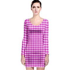 Friendly Houndstooth Pattern,pink Long Sleeve Bodycon Dress