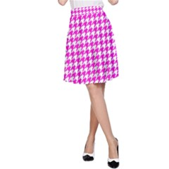 Friendly Houndstooth Pattern,pink A Line Skirt