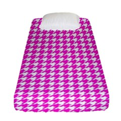 Friendly Houndstooth Pattern,pink Fitted Sheet (single Size)