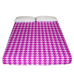 Friendly Houndstooth Pattern,pink Fitted Sheet (california King Size)