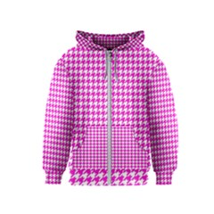 Friendly Houndstooth Pattern,pink Kids  Zipper Hoodie