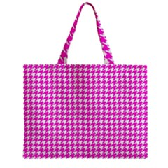 Friendly Houndstooth Pattern,pink Zipper Mini Tote Bag