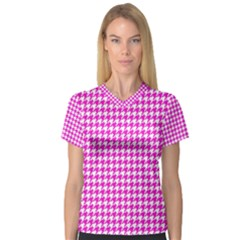 Friendly Houndstooth Pattern,pink V Neck Sport Mesh Tee