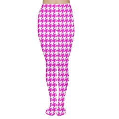 Friendly Houndstooth Pattern,pink Women s Tights