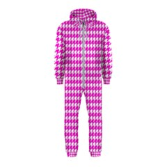 Friendly Houndstooth Pattern,pink Hooded Jumpsuit (kids)